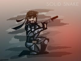 Solid Snake holding a tranquilizer by AwakeNight