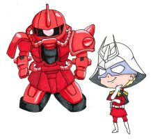 SD Char and Zaku II by katiewhy