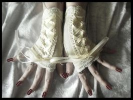 Pale Corset Fingerless Gloves by ZenAndCoffee