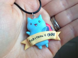 Catbug Necklace - EVERYTHING IS OKAY by Gatobob