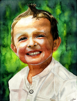 Child portrait - watercolor by Tyfflie