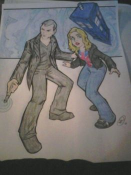 Ninth Doctor and Rose (Re-color) by BloodyDarkAngel