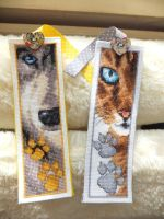 Cat and Dog Cross Stitched Bookmarks by Literatic