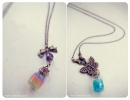 glitter gel bottle necklaces. by 13thpsyche
