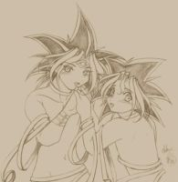 Yami and Yugi tie up together by Kriska