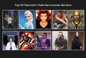 Top 10 characters I hate but everyone else loves by MoIagBal