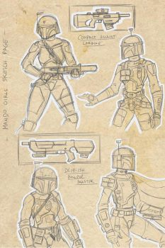 mandalorian girls sketch page by commander-13