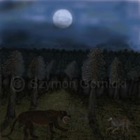 Amphicyon and Epicyon In the moonlight. by Szymoonio
