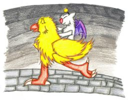 Best Friends Mog and Chocobo by siriusstar13