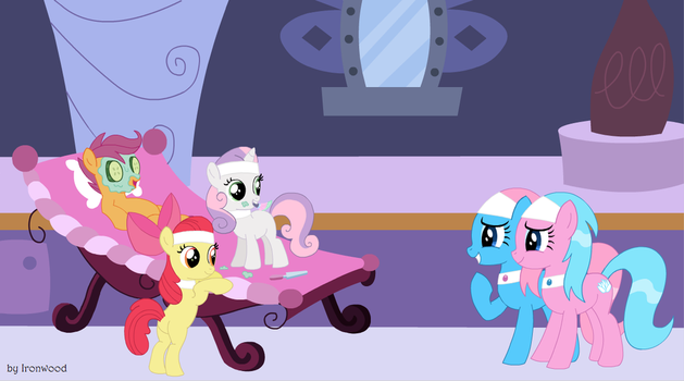 Cutie Mark Crusaders at the Ponyville Spa by IronwoodAKACleanser