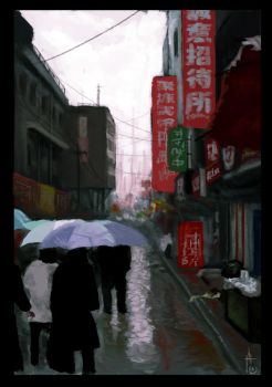 Rainy alley by TomAzza