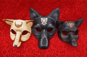 Regal Foxes, Royal Wolf masks by merimask