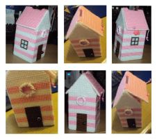 Pink and white beach hut cross-stitch money box by Alondra-chui