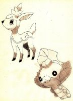Deerling and Sewaddle by Macuarrorro