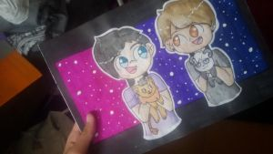 Dan and Phil with plushlies by CrazzyCupcake