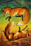 [AT] Fox Dance .double ACEO. by EvlonArts