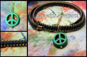 Give Peace a Chance  Choker ~Blue/Gold~ by RavingEagleMedia
