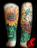 Sunflower Tattoo by Jacie Rabbit (1st session) by jackierabbit12