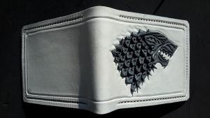 House Stark white version leather wallet by Bubblypies