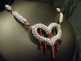 Bleeding Heart Persian Necklace by BacktoEarthCreations