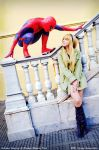 Are you stalking me? - Spiderman and Gwen Stacy by usagiyuu