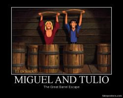 Miguel, Tulio and the Barrel by humpadinkhuckleberry