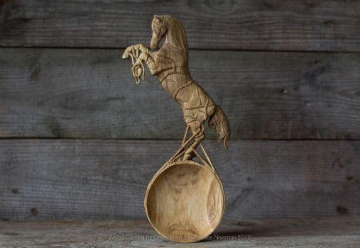 'Release' - Hand Carved Horse Spoon by Giles-Newman-Carving