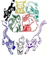 Eeveelutions redone by Raven-ftw