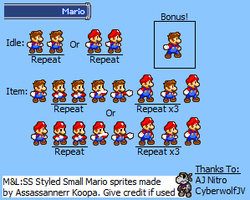 ML:SS Small Mario Sprites by Assassannerr