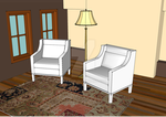 living room with  two white  chairs by Hajjor