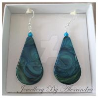 Jewel Enamel Teardrop Earrings with Magnesite by WhiteMagicPriestess