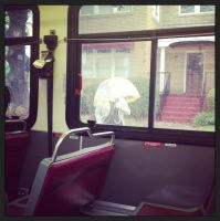 Bus View - Umbrella by wiebkefesch