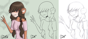 Day 32-34 - Bear Girl Process by LinkSketchit
