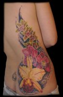 Orchids on a Back by TattooJeffJohnson