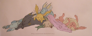Eeveelution nap time by PiumaRossa