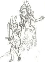 WIP: Fionna and Flame Prince by BlueRoseFox