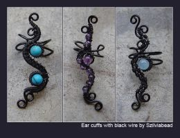 Ear cuffs with black wire by bodaszilvia