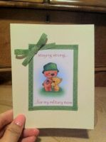 Military Mom Card- Green,Pink by PinkBunnie
