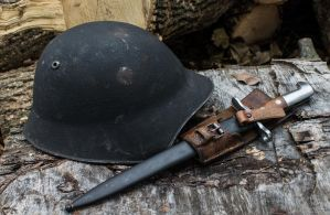 Swiss m1918 Helmet and Bayonet with Fog by spaxspore