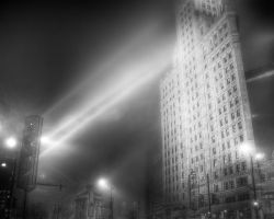 Wrigley Building in Fog by spudart