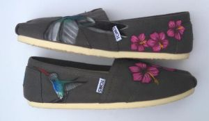 Hummingbird and Hibiscus Painted TOMS shoes by Ceil