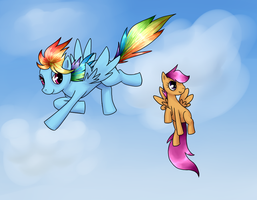 Rainbow Dash and Scoots by Akeudi
