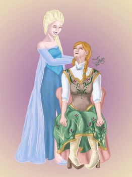 Elsa and Anna by SyrenCreates