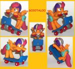Scootaloo riding her scooter custom sculpture 2 by MadPonyScientist