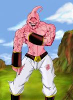 Majin Buu  is hurt DBZ by vegetto-vegito