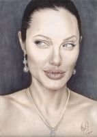 Angelina Jolie Color Drawing by riefra