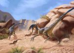 Velociraptor younglings on the hunt by Akeiron