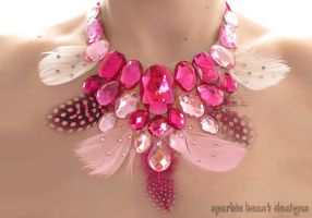 Pink Feather and Rhinestone Statement Necklace by Natalie526