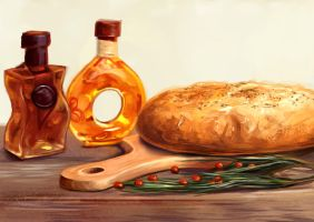 Still Life Study bread oil by charfade