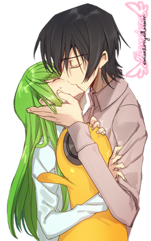 C C and Lelouch RENDER by xMissCherryxBlossom